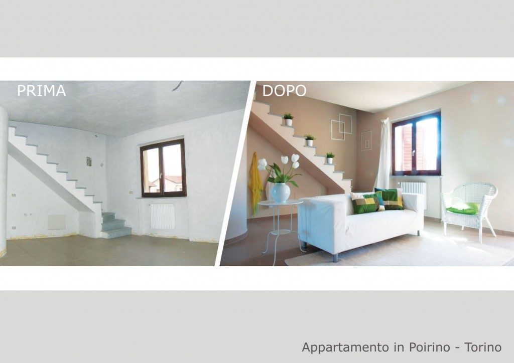 """Ulteriore esempio """"prima e dopo"""" l'home staging di una casa a Poirino"""