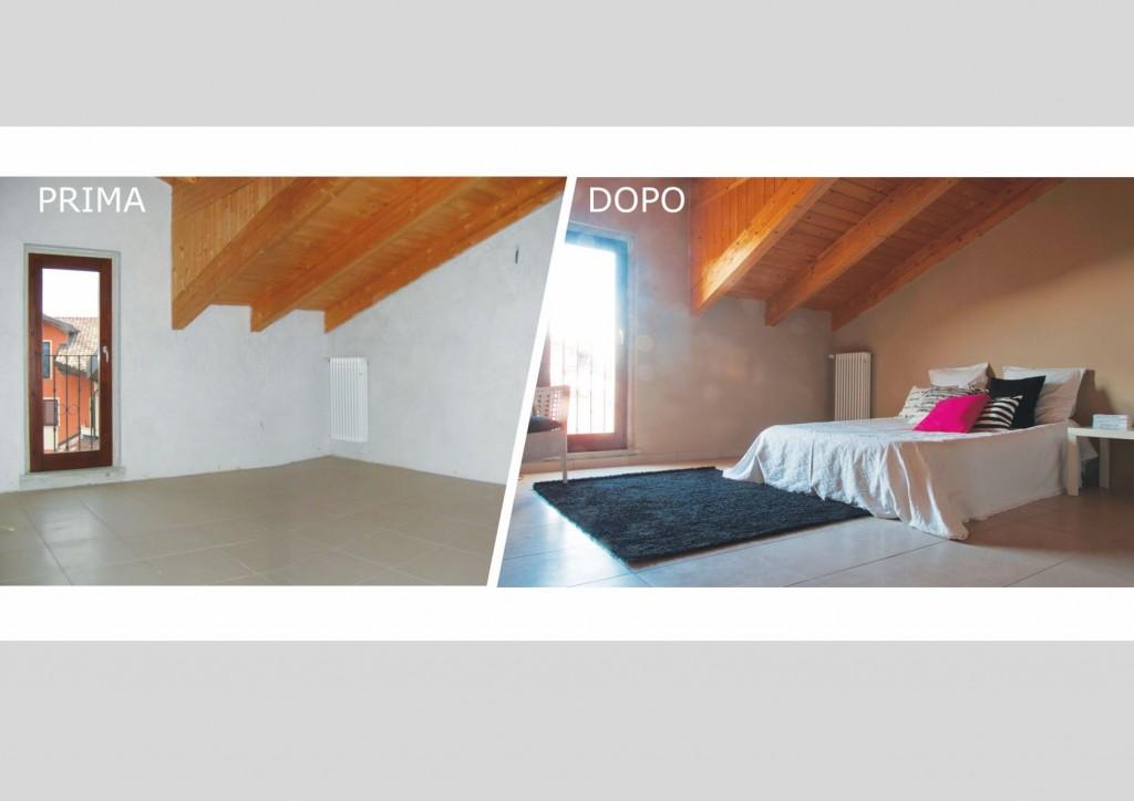 Altra camera della casa di Poirino prima e dopo il servizio di Nadia Ribone